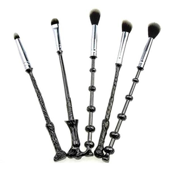 Harry Potter Black Metal 5 Piece Magical Wand Makeup Brush Set