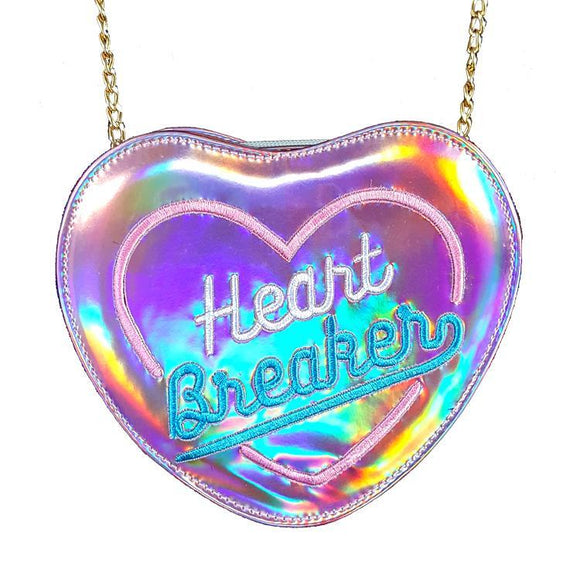 Holographic Pink Rainbow Heart Breaker Bag / Clutch With Removable Chain