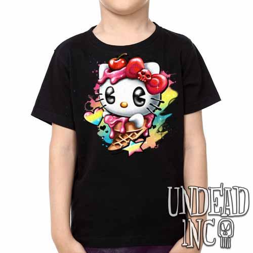 Hello Kitty Cream -  Kids Unisex Girls and Boys T shirt Clothing - Undead Inc Kids T-shirts,