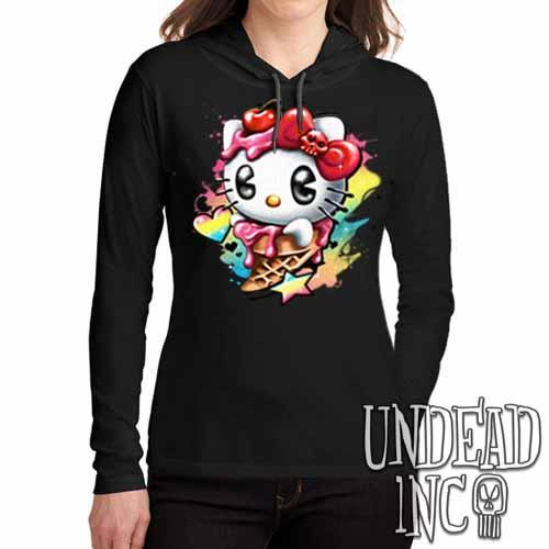 Hello Kitty Cream - Ladies Long Sleeve Hooded Shirt - Undead Inc Long Sleeve T Shirt,