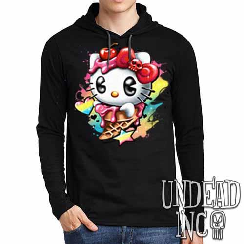 Hello Kitty Cream - Mens Long Sleeve Hooded Shirt - Undead Inc Long Sleeve T Shirt,
