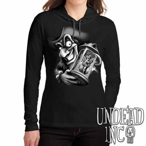 Tinkerbell and Captain Hook Black Grey Ladies Long Sleeve Hooded Shirt Long Sleeve T Shirt Undead Inc