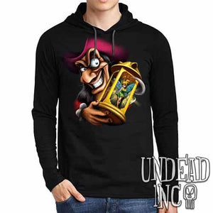 Tinkerbell and Captain Hook  - Mens Long Sleeve Hooded Shirt