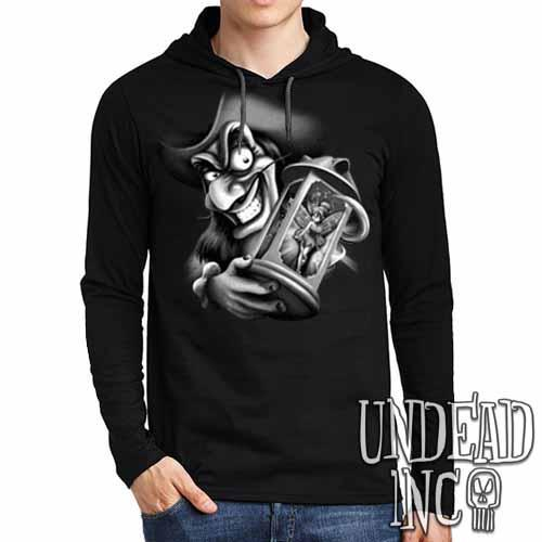 Tinkerbell and Captain Hook Black Grey Mens Long Sleeve Hooded Shirt