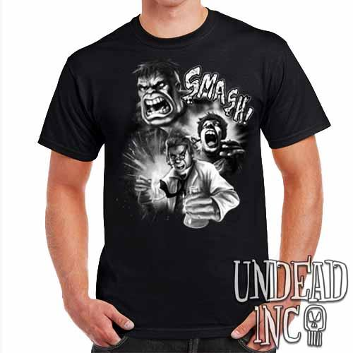 Incredible Hulk Transformation - Mens T Shirt Black & grey - Undead Inc Mens T-shirts,