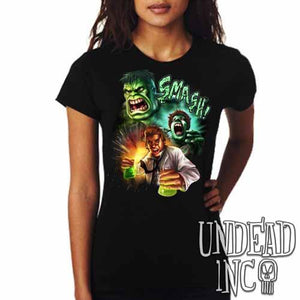 Incredible Hulk Transformation - Ladies T Shirt - Undead Inc Ladies T-shirts,