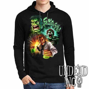 Incredible Hulk Transformation - Mens Long Sleeve Hooded Shirt - Undead Inc Long Sleeve T Shirt,