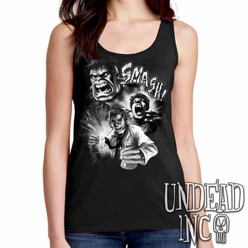 Incredible Hulk Transformation - Ladies Singlet Tank Black & grey - Undead Inc Ladies Tank Tops,