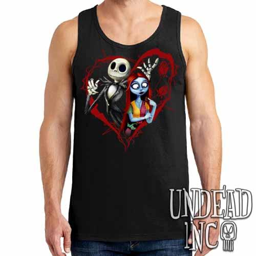 Nightmare Before Christmas Jack and Sally - Mens Tank Singlet Mens Tanks Undead Inc