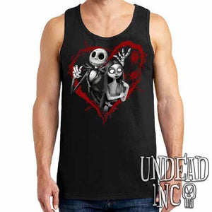 Nightmare Before Christmas Jack and Sally Black & Grey Mens Tank Singlet