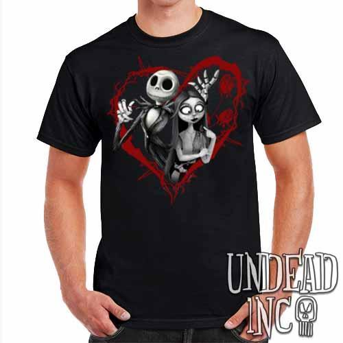 Nightmare Before Christmas Jack and Sally - Mens T Shirt BLACK GREY