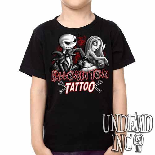 Jack and Sally Halloween Town Tattoo Nightmare Before Christmas -  Kids Unisex Girls and Boys T shirt Black Grey - Undead Inc ,
