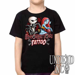 Jack and Sally Halloween Town Tattoo Nightmare Before Christmas -  Kids Unisex Girls and Boys T shirt Clothing - Undead Inc ,