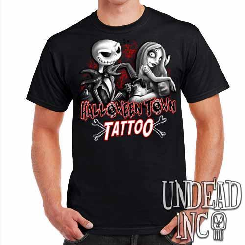 Jack and Sally Halloween Town Tattoo Nightmare Before Christmas - Mens T Shirt Black Grey - Undead Inc ,