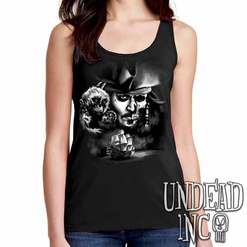 Pirates Of The Caribbean Undead Jack Sparrow Black Grey Ladies Singlet Tank Ladies Tank Tops Undead Inc