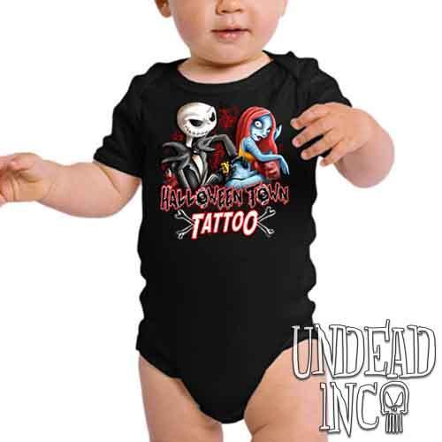 Jack and Sally Halloween Town Tattoo Nightmare Before Christmas - Infant Onesie Romper
