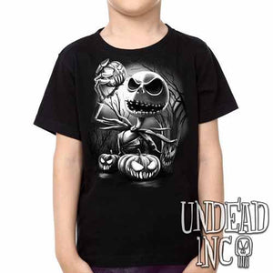 Nightmare Before Christmas Pumpkin King Jack Black Grey  - Kids Unisex Girls and Boys T shirt Clothing