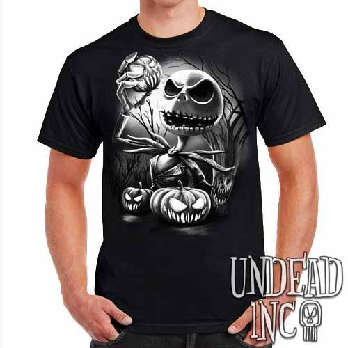 Nightmare Before Christmas Pumpkin King Jack - Mens T Shirt Black Grey