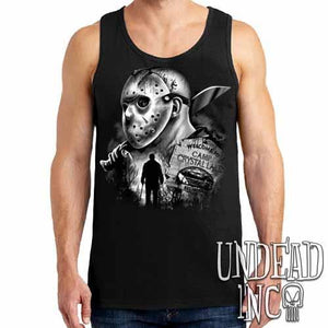 Jason Voorhees Camp Crystal Lake lack & Grey - Mens Tank Singlet