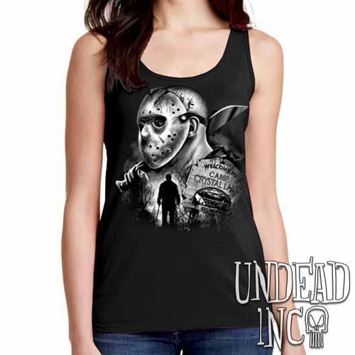 Jason Voorhees Camp Crystal Lake Black & Grey - Ladies Singlet Tank