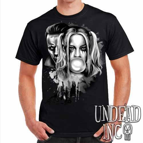 Suicide Squad Harley Quinn & Joker Paint Splatter Black & Grey - Mens T Shirt