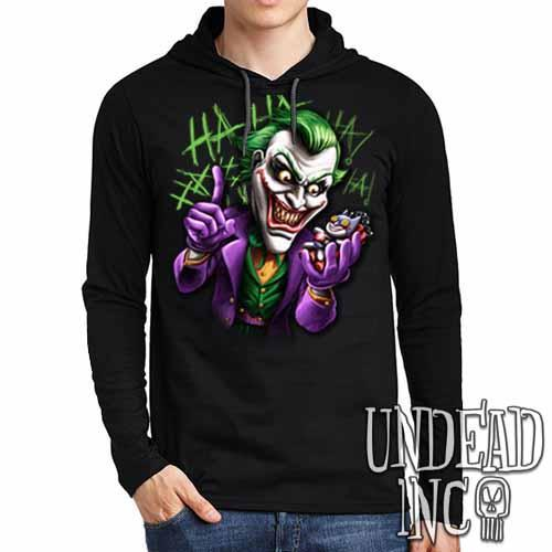 Joker Bat Bomb - Mens Long Sleeve Hooded Shirt - Undead Inc Long Sleeve T Shirt,