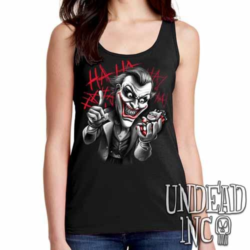Joker Bat Bomb - Ladies Singlet Tank Black Grey