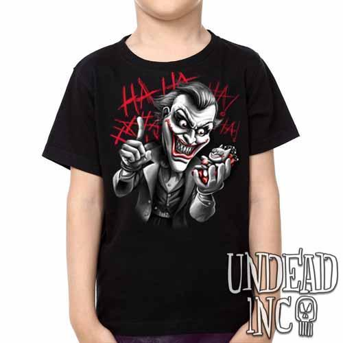 Joker Bat Bomb - Kids Unisex Girls and Boys T shirt Clothing Black Grey - Undead Inc ,