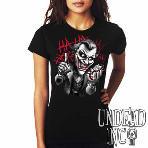 Joker Bat Bomb - Ladies T Shirt Black Grey - Undead Inc ,