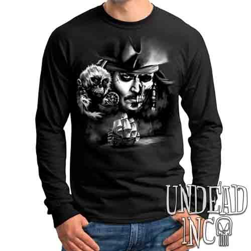 Pirates Of The Caribbean Undead Jack Sparrow Black & Grey - Mens Long Sleeve Tee