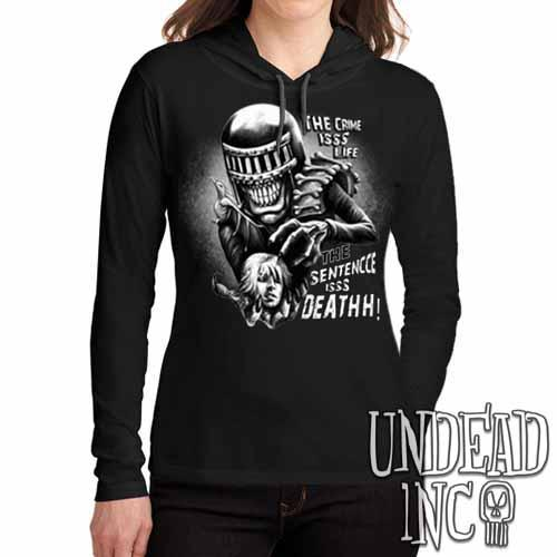 Judge Death - The Crime is Life 2000 ad Dredd Black Grey Ladies Long Sleeve Hooded Shirt