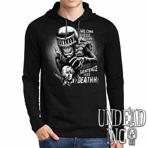 Judge Death - The Crime is Life 2000 ad Dredd Black Grey Mens Long Sleeve Hooded Shirt