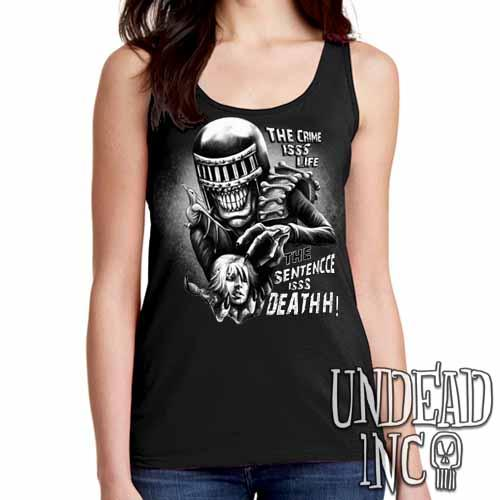 Judge Death - The Crime is Life 2000 ad Dredd - Ladies Singlet Tank Black Grey