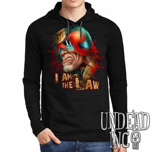 Judge Dredd I AM THE LAW - Mens Long Sleeve Hooded Shirt Long Sleeve T Shirt Undead Inc