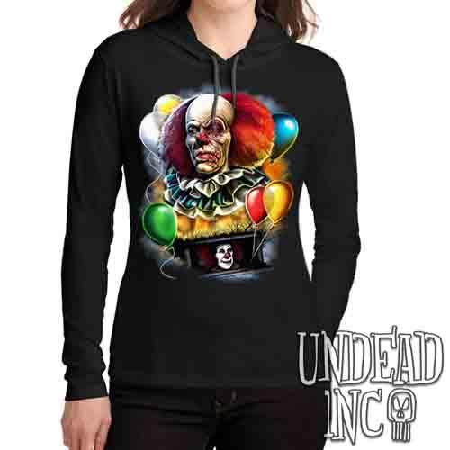 IT Pennywise 1990 - Ladies Long Sleeve Hooded Shirt