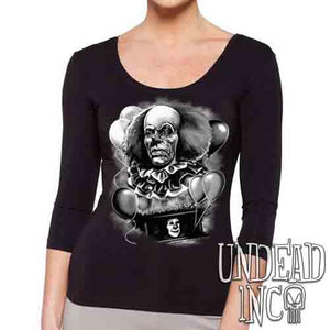 IT Pennywise 1990 Black & Grey - Ladies 3/4 Long Sleeve Tee