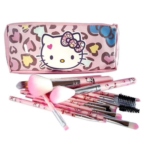 Hello Kitty 12 Piece Makeup Brush & Cosmetics Bag Set