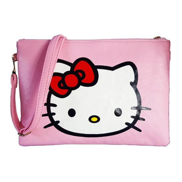 Hello Kitty Head Pink Pu Leather Cross Body / Shoulder Bag