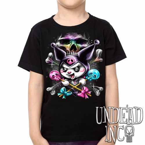 Kuromi Skull Pop Crossbones -  Kids Unisex Girls and Boys T shirt Clothing