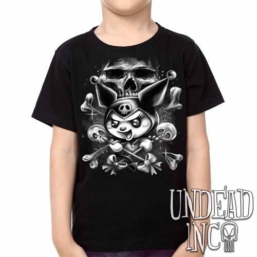 Kuromi Skull Pop Crossbones -Black & Grey  Kids Unisex Girls and Boys T shirt Clothing
