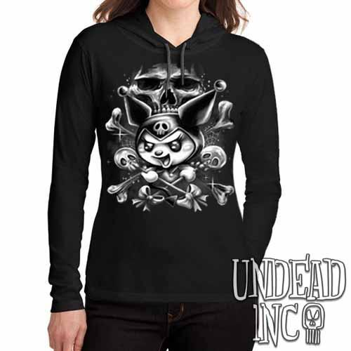 Kuromi Skull Pop Crossbones Black & Grey - Ladies Long Sleeve Hooded Shirt