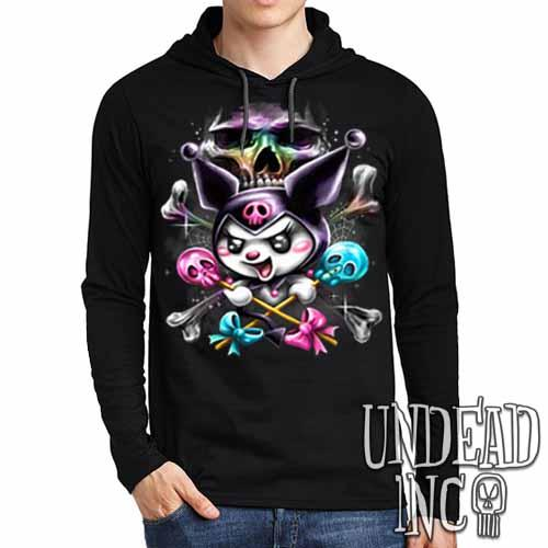 Kuromi Skull Pop Crossbones - Mens Long Sleeve Hooded Shirt