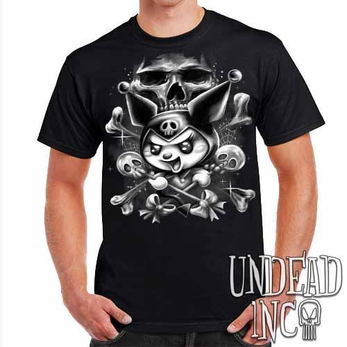 Kuromi Skull Pop Crossbones Black & Grey - Mens T Shirt