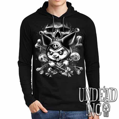 Kuromi Skull Pop Crossbones Black & Grey - Mens Long Sleeve Hooded Shirt