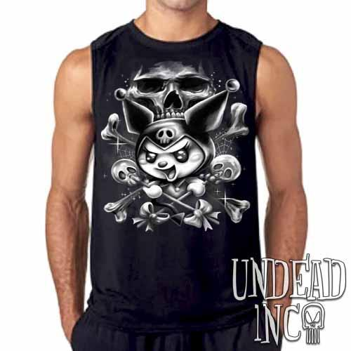 Kuromi Skull Pop Crossbones Black & Grey Mens Sleeveless Shirt