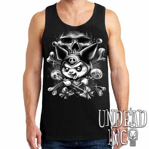Kuromi Skull Pop Crossbones Black & Grey - Mens Tank Singlet