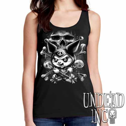 Kuromi Skull Pop Crossbones Black & Grey - Ladies Singlet Tank