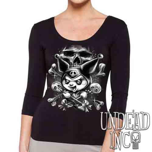 Kuromi Skull Pop Crossbones Black & Grey - Ladies 3/4 Long Sleeve Tee