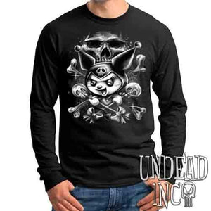 Kuromi Skull Pop Crossbones Black & Grey - Mens Long Sleeve Tee