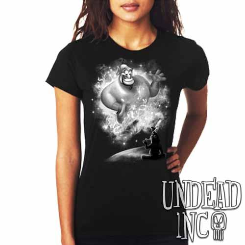 Aladdin Genie - Ladies T Shirt BLACK GREY - Undead Inc Ladies T-shirts,
